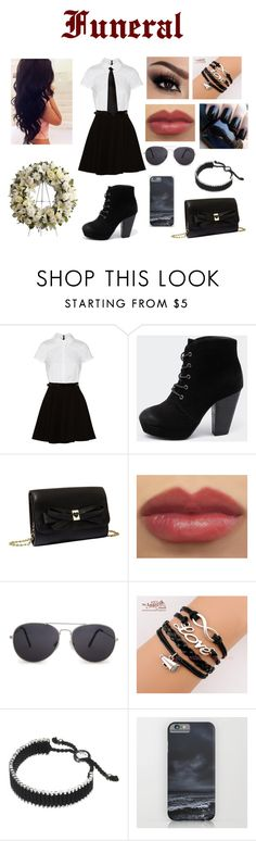 """""""Funeral"""" by superkaci-gordon ❤ liked on Polyvore featuring Alice + Olivia, Therapy, Betsey Johnson, MANGO and Links of London"""