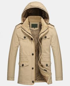 Mens Winter Coat Direct Sale Buy direct and get 50% OFF instantly Color : Khaki or Black Size : Small, Medium, Large S Length : 28.86 in Shoulder : 18.33 in Chest : 44.46 in Sleeve : 25.155 in M Lengt