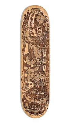 """Dudes Factory laser-etched skateboard """"woodworm"""" by Dudes Factory , via Behance"""