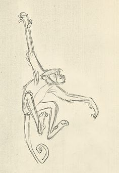 The Jungle Book - King Louie's monkey gang action studies Jungle Drawing, Monkey Drawing, Monkey Art, Animal Sketches, Animal Drawings, Drawing Sketches, Cartoon Drawings, Art Drawings, Monkey Illustration
