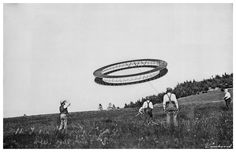 Alexander Graham Bell (right) and his assistants observing a tetrahedral kite, 7 July 1908  https://i.imgur.com/GoGhbMN.png