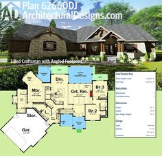 Architectural Designs Craftsman House Plan 62660DJ has an angled footprint with a counter-angled sitting room in the master suite. Over 2,300 square feet of heated living space. Ready when you are. Where do YOU want to build?