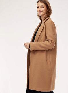 Taking its cues from menswear tailoring, the Stedman is cut from a warm, double-faced wool-cashmere blend sourced from a fine Italian mill. Long Wool Coat, Thick Sweaters, Shop Usa, Camel Coat, Cashmere Wool, Sweater Coats, Duster Coat, Menswear, My Style