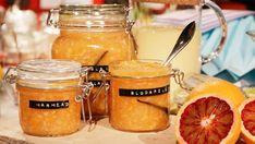 Blodapelsinmarmelad med ingefära och vanilj. Vanilj, Hot Cocoa Recipe, Mason Jars, Picnic, Tableware, Food, Kitchen, Crafts, Orange