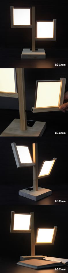 This table lamp was made with an LG Display OLED lighting Double Kit. Magnets were used to connect each wing to the wooden post and the two wings can create either a wider or narrower lighting field for different purposes by adjusting their angles.  Check out Organic Lights at http://www.organic-lights.com/en/lg-display-do-it-yourself-kit.html