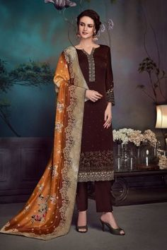 Designer salwar suits and trendy suits available in a variety of latest designs. Shop this sorcerous embroidered and resham work brown pant style suit. Indian Dresses, Indian Outfits, Pakistani Dresses, Wedding Salwar Suits, Anarkali Suits, Diwali Dresses, Trendy Suits, Stitching Dresses, Salwar Suits Online