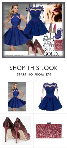 """""""Homecoming Queen Dress"""" by sanya-marc ❤ liked on Polyvore featuring Tony Bowls, Jimmy Choo, Post-It, Edie Parker and homecomingqueendress"""