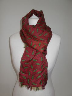 Vintage scarf by Sammy - Tootal style - red green paisley print - Silky one side wool on the other by BidandBertVintageMen on Etsy