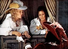 """Christopher Lee, as the villainous Count De Rochefort, meets Milady de Winter (Faye Dunaway) in Richard Lester's 1973 romp, """"The Three Musketeers."""" With Nicole Calfan."""
