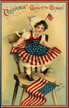 Image result for vintage postcard with babies 4th of july