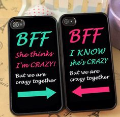 Best friends forever Cute Couple phone case for iphone Galaxy Iphone 4 Cases, Cute Phone Cases, Iphone 5s, Bff Cases, Friends Phone Case, Phone Accesories, Gifts For Friends, Bestie Gifts, Cool Cases