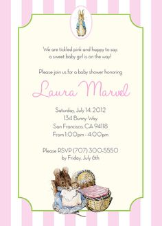 Peter Rabbit BABY SHOWER Invitation - Personalized - PRINTABLE Digitlal File, 5x7