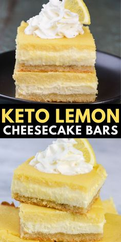dessert recipes 556827941432275887 - You will love these Keto Lemon Cheesecake Bars! With three layers including a sweet shortbread crust, lemon cheesecake and a smooth lemon bar layer these are the ultimate low carb citrus dessert! Low Carb Sweets, Low Carb Desserts, Low Carb Recipes, Keto Friendly Desserts, Keto Dessert Easy, Köstliche Desserts, Dessert Recipes, Plated Desserts, Lemon Cheesecake Bars