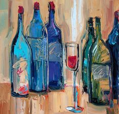 Great Works Of Art, Vides, Tile Murals, Wine Art, Wine Painting, Painting Canvas, Wine And Beer, Easy Paintings, Lovers Art