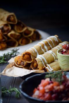 ... Cheesy Beef And Sweet Potato Taquitos With Rosemary Pomegranate Salsa
