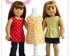 """PDF Sewing Pattern for 18"""" American Girl Doll Clothes - Pleated Sundress, Tunic or Top ePattern"""