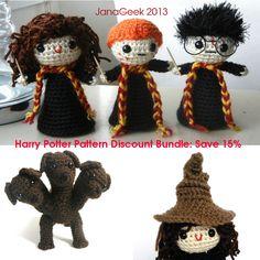 Harry Potter Inspired Crochet Pattern Discount Bundle Save 15 Percent by JanaGeek on Etsy https://www.etsy.com/listing/188940646/harry-potter-inspired-crochet-pattern