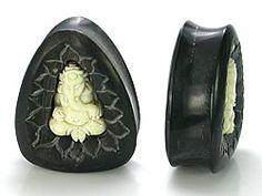 Black Wood with 3D Bone Genish Elephant Inlay Tear Drop Plug