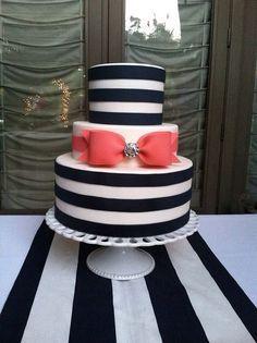 Striking black and white striped tier cake