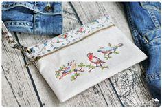 Handmade wristlet bag with cross stitched от LittleRoomInTheAttic