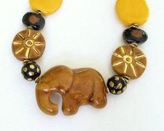 African Kazuri Elephant Beaded Necklace Caramel by JeanieHDesigns, $125.00