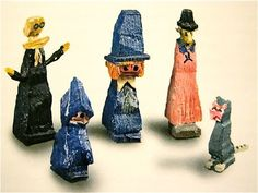 """Lyonel Feininger, """"Untitled"""" (Four Figures and a Cat) Characters from """"The Kin-der-Kids and Wee Willie Winkie's"""" 1944"""