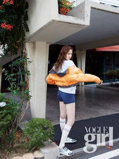 YG Entertainment actress and model Lee Sung Kyung strikes athletic pose for 'Vogue Girl' Lee Sung Kyung Fashion, Lee Joo Young, Girl Korea, Weightlifting Fairy Kim Bok Joo, Girls Magazine, Joo Hyuk, Cute Korean, Korean Style, Kpop