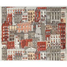 "Edward Wormley ""Our Town"" fabric remnant, by Schiffer Prints, cotton, hand-printed city scene"
