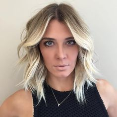 Centre-Parted Blonde Layered Lob