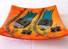 Fusionglass Plate, Handmade,  33 cm x 33 cm, Fused Glass, Orange color, , wall art, home  decor, fruit plate by Tribalarthome on Etsy