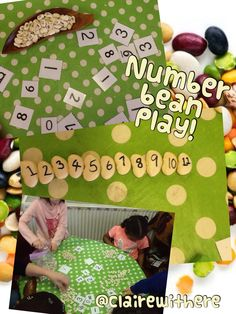 """Butter beans and a sharpie makes for lots of number fun! Thanks to ("""",) for the idea :) Maths Eyfs, Preschool Math, Fun Math, Math Games, Teaching Math, Early Years Topics, Early Years Maths, Maths Area, Tree Study"""