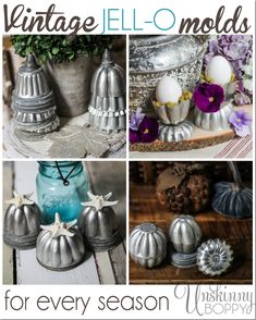 Decorating with vintage Jello molds for every season - rustic upcycling from the thrift store and yard sale! Vintage Tins, Vintage Crafts, Vintage Kitchen, Vintage Ornaments, Vintage Jello Molds, Christmas Decorations, Christmas Ornaments, Christmas Trees, Diy Christmas
