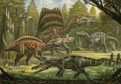 Anachronistic restoration of four spinosaurids, clockwise from the left: Suchomimus, Spinosaurus, Irritator, and Baryonyx: by - Wikimedia Commons Jurassic Park, Jurassic World, Dinosaur Sketch, Dinosaur Art, Prehistoric Wildlife, Prehistoric Creatures, Spinosaurus Aegyptiacus, Extinct Animals, Sea Monsters