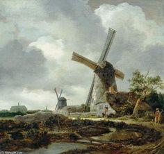 Paysage avec des moulins à vent, près de Haarlem de Jacob Isaakszoon Van Ruisdael (Ruysdael) (1628-1682, Netherlands)