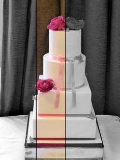 Elegant Ivory Wedding Cake with Peonies