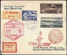 Airship Zeppelinmail, 1933. 5. South America Flight LZ 127 contracting states mails, registered cover with incoming line Russia with Zeppelin franking and posting stamp from Moscou 9. 8. 33 to Recife-Pernambuco with all Special confirmation stamp  Dealer Berliner Auktionshaus Schlegel  Auction Minimum Bid: 80.00 EUR