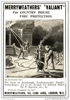 Original - Anzeige / Advertise 1903 : (ENGLISH) MERRYWEATHERS´ VALIANT FOR FIRE PROTECTION - LONDON - 65 x 80 mm