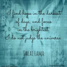 """""""I find hope in the darkest of days and focus in the brightest. I do not judge the universe."""" Dalai Lama #quote #dalailama #dontjudge"""
