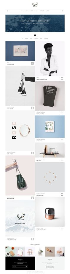 Welcome to ROSE - Minimalist Agency, Architecture, Blog WordPress Theme. #PORTFOLIO #MASONRY WITH #CAPTION. Choose a demo layout that you like! #blogging #template