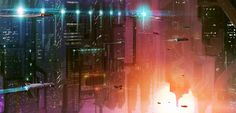 Spaceport [( Science-fiction, dystopia, future noir, Blade Runner, cyberpunk, night skylines, dark city, Metropolis )]