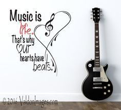 Music is life music quote wall decor music notes music festival living room decor heart wall decal music room decor teen room decor Diy Room Decor For Teens, Teen Room Decor, Bedroom Decor, Bedroom Ideas, Theme Bedrooms, Teen Rooms, Kitchen Wall Decals, Wall Decals For Bedroom, Living Room Quotes