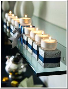 Hanukkah table setting - little presents and tea lights. I think I would use electric candles. Hanukkah Crafts, Feliz Hanukkah, Hanukkah Candles, Hanukkah Decorations, Hanukkah Menorah, Christmas Hanukkah, Hannukah, Happy Hanukkah, Hanukkah Lights