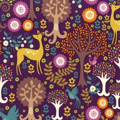 FQ-FANTASY-FOREST-PURPLE-BROWN-MICHAEL-MILLER-COTTON-FABRIC-text-writing