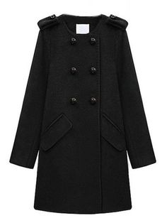 Alluring Round Neck Breasted Plain Overcoats