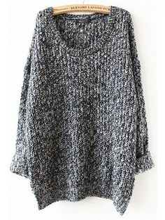 Grey Long Sleeve Loose Sweater                                                                                                                                                     More