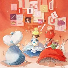 Through the Looking- Glass and What Alice Found There illustration by Kim Minji Kawaii Illustration, Illustration Sketches, Illustrations And Posters, Children's Book Illustration, Watercolor Illustration, Alice In Wonderland Book, Adventures In Wonderland, Queen Alice, Kim Min Ji