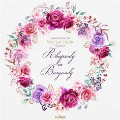 Watercolor Burgundy Floral Elements Peonies and Roses, Boho style, Wedding Invitations Clipart, Purple Flowers, Individual PNG files. Deco Floral, Motif Floral, Floral Design, Design 24, Clipart, Watercolor Flower Wreath, Watercolor Rose, Rose Tattoos, Flower Tattoos