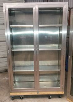 Vintage Medical Stainless Steel Cabinet, Used In Hospital O/R, Glass Doors,  3 Stainless Adjustable Shelves, Display Cabinet, *Local Pick Up