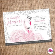 Baby Shower Invitation Princess Swan Theme by EventswithGrace