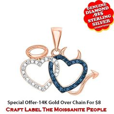 """1/10 Ct Blue & White Genuine Diamond 14K Gold Angel & Devil Heart Pendant Without Chain """"Mother\'s Day Gift"""". Starting at $53"""